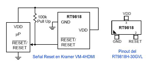 Esquema del circuito de Reset