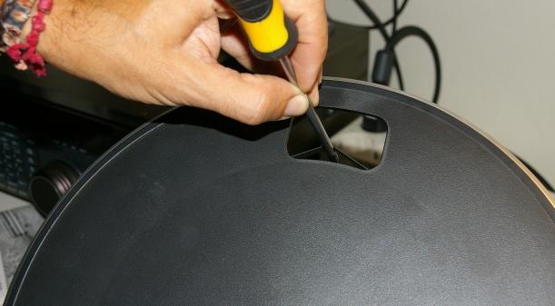Preparación de la correa antes de insertar el plato